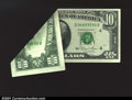 Error Notes:Foldovers, Fr. 2025-D $10 1981 Federal Reserve Note. Choice About Uncirc...