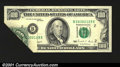 Error Notes:Foldovers, Fr. 2173-B $100 1990 Federal Reserve Note. About Uncirculated...