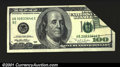 Error Notes:Foldovers, Fr. 2175-B $100 1996 Federal Reserve Note. About Uncirculated...