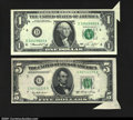 Error Notes:Attached Tabs, Fr. 1908-D $1 1974 Federal Reserve Note. Gem Crisp Uncirculat...