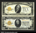 Small Size:Gold Certificates, Two Gold Certificates, including Fr. 2400 $10 1928 Very F...