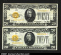 Small Size:Gold Certificates, Fr. 2402 $20 1928 Gold Certificates. Extremely Fine. Two pi...