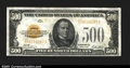 Small Size:Gold Certificates, Fr. 2407 $500 1928 Gold Certificate. About Uncirculated.A...