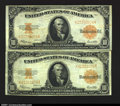 Large Size:Gold Certificates, Fr. 1173 $10 1922 Gold Certificates Very Fine. Two decent n...