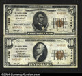 National Bank Notes:Maryland, Easton, MD- $5 1929 Ty. 2, $10 1929 Ty. 2 The Easton NB...