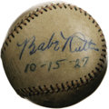 Autographs:Baseballs, 1920's-30's Babe Ruth & Dizzy Dean Signed Baseball. Fantasticpairing of Hall of Fame autographs is made all the more appea...