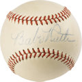 Autographs:Baseballs, Early 1940's Babe Ruth Single Signed Baseball. A milky-white OAL(Harridge) ball supplies the most desirable of homes for a...