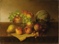 Fine Art - Painting, American:Modern  (1900 1949)  , ROBERT SPEAR DUNNING (American 1829-1905). Tabletop Still LifeWith Fruit, circa 1884. Oil on canvas. 18-1/4 x 24-1/4 in...