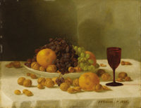 JOHN F. FRANCIS (American 1808-1886) Still Life With Fruits And Nuts, 1865 Oil on panel 14-3/4 x 19 inches (36.2 x 48