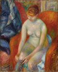Fine Art - Painting, American:Modern  (1900 1949)  , WILLIAM GLACKENS (American 1870-1938). Nude Pulling On Stocking(Nude With Red Hair), circa 1925. Oil on canvas. 32 x 26...