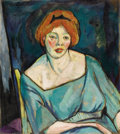 Fine Art - Painting, American:Modern  (1900 1949)  , BROR JULIUS OLSSON NORDFELDT (American 1878-1955). Woman withOrange Hair, circa 1916. Oil on canvas. 27-3/8 x 24-3/8 in...