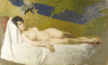Fine Art - Painting, American:Modern  (1900 1949)  , JULIUS STEWART (American 1855-1919). Reclining Nude by anOriental Screen, circa 1900. Oil on canvas. 28-1/2 x 47-3/4in...