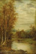 Fine Art - Painting, European:Antique  (Pre 1900), ALFRED AUGUSTUS GLENDENING (British circa 1840-circa 1910).Autumn Landscape With Pond And Castle Tower, 1869. Oil onca...