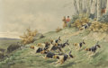 Fine Art - Painting, European:Antique  (Pre 1900), CHARLES FERNAND DE CONDAMY (French 1855-1913). The BoarHunt, 1881. Watercolor on paper. 12 x 18-3/4 inches (30.5 x47.6...