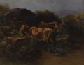 Fine Art - Painting, European:Antique  (Pre 1900), ANTON MAUVE (Dutch 1838-1888). Cows Watering. Oil on canvas.31-1/2 x 41-1/8 inches (80 x 104.4 cm). Signed lower right:...