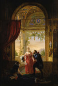 Fine Art - Painting, European:Antique  (Pre 1900), LOUIS-NICOLAS LEMASLE (French 1788-1870). Henri IV And His Mistress, 1826. Oil on canvas. 61-3/4 x 42-1/4 (157 x 107.3 c...