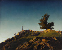 MAXFIELD PARRISH (American 1870-1966) Sugar Hill, Late Afternoon, 1930 Oil on prepared board 25 x 30-1/2 inches (63 x