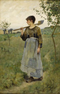 Fine Art - Painting, American:Antique  (Pre 1900), CHARLES SPRAGUE PEARCE (American 1851-1914). Home From TheFields, circa 1880-84. Oil on canvas. 18 x 11-1/2 inches(45....