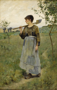 CHARLES SPRAGUE PEARCE (American 1851-1914) Home From The Fields, circa 1880-84 Oil on canvas 18 x 11-1/2 inches (45