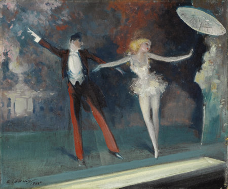 EVERETT SHINN (American 1876-1953)Curtain Call, 1925Oil on canvas9-1/4 x 11-1/4 inches (23 x 29 cm)Signed and da...