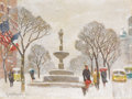 Fine Art - Painting, American:Contemporary   (1950 to present)  , GUY CARLETON WIGGINS (American 1883-1962). A Winter's Snow /Plaza. Oil on canvasboard. 12 x 16 inches (30.5 x 40.6 cm)...