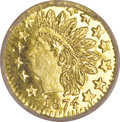 California Fractional Gold: , 1874 25C Indian Round 25 Cents, BG-875, High R.4, MS65 ProoflikeNGC. This is an extraordinary Gem with fully prooflike gre...