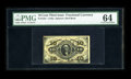 """Fr. 1251 10¢ Third Issue PMG Choice Uncirculated 64. PMG has added the comment, """"As Made Flaw On Back."""" I..."""
