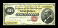 Large Size:Gold Certificates, Fr. 1178 $20 1882 Gold Certificate Very Fine. A perfect VF from theface, but the back is strangely overinked. The ink is so...