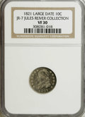 Bust Dimes: , 1821 10C Large Date VF30 NGC. JR-7. Ex: Jules Reiver Collection.NGC Census: (13/191). PCGS Population (6/152). Mintage: 1,...