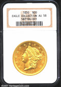1850 $20 AU58 NGC. The 1850 is only the 13th rarest of 17 Type One Double Eagles produced at the Philadelphia Mint but i...