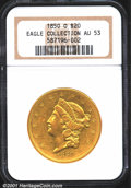 1850-O $20 AU53 NGC. The 1850-O is a somewhat enigmatic issue. It is actually rather common in lower grades, although no...