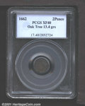 1662 2PENCE Oak Tree Twopence XF40 PCGS. Noe-31, R.6. 13.4 grains. With die breaks on reverse. The surfaces are somewhat...