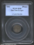 1662 2PENCE Oak Tree Twopence XF45 PCGS. Noe-34, R.6. 11.1 grains. From the late die state, recut reverse and the die br...