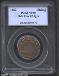 1652 SHILNG Oak Tree Shilling VF30 PCGS. Noe-11, R.6. 67.7 grains. The devices show much evidence of recutting on the di...