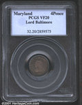 Colonials: , MARYLAND 4PENCE LORD BALT