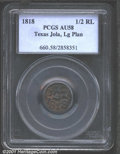 1818 1/2RL New Spain (Texas) Jola Half Real, Large Planchet AU58 PCGS. The Texas Jolas were made by José Antonio...