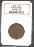 1826 1C MS64 Brown NGC. N-7, R.1. The luster quality on both sides is bright and rich with a glossy-brown sheen. There a...