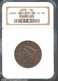 1828 1C Large Narrow Date MS64 Brown NGC. N-11, R.2. This is an interesting colored example with traces of orange-red lu...