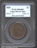 1828 1C Large Narrow Date MS64 Brown PCGS. N-6, R.1. The Choice quality surfaces exhibit a pleasingly glossy sheen that...