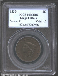 1830 1C Large Letters MS64 Brown PCGS N-1, R.1. This is a smooth, glossy textured example whose surfaces have the look o...