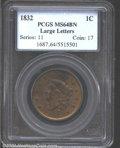 1832 1C Large Letters MS64 Brown PCGS. N-3, R.1. Golden-brown patina dominates the outward appearance of this glossy fin...
