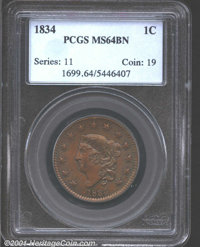 1834 1C MS64 Brown PCGS. Small Date, Large Stars, Small Letters. N-2, R.1. Beautifully toned in olive-brown and steel-bl...