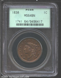 1838 1C MS64 Brown PCGS. N-1, R.1. This is an evenly toned, honey-brown representative whose surfaces are free of bother...