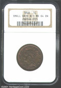 1846 1C Small Date MS64 Brown NGC. N-1, R.1. Despite the color designation, this coin is not devoid of mint luster. True...