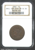 1846 1C Small Date MS64 Brown NGC. N-20, R.3. Listed on page 91 of the 2002 Guide Book, this variety is easily identifi...