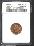 1861 1C --Reverse Corrosion--ANACS. Proof, Net PR60. Sharply detailed with slightly subdued golden-tan surfaces. An area...