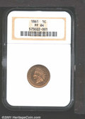 1861 1C PR64 NGC. Both sides are predominantly honey-gold in color, although warm lilac-rose undertones are evident at c...