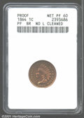 1864 1C Bronze--Cleaned--ANACS. Proof, Net PR60. This coin was probably dipped at one time. The surfaces are now retonin...