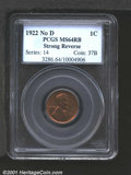 1922 No D 1C Strong Reverse MS64 Red and Brown PCGS. Die Pair Two. A second and even finer Mint State representative of...