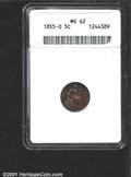1855-O H10C Arrows MS62 ANACS. Excellent detail is displayed on surfaces toned to a blazing honey-yellow on the obverse...